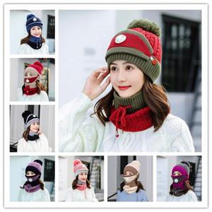 winter knit women hat girls ear warm fur pom pom ski caps scarf set with breathing Bib hat JXW722