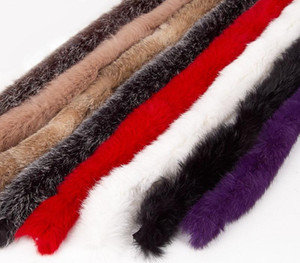 Real Fur Strips Natural Thickened Rex Fur trim 1meter lot Luxury Clothes accessories sweater coat hood hat Diy Trims