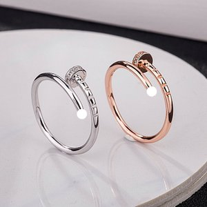 Titanium Steel Silver Love Ring Men and Women Rose Gold Nail Anillo para los amantes Regalo de la pareja de la moda