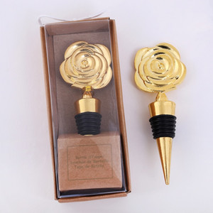 Gold Rose Wine Tappers con cajas de regalo Flores Rose Flores de vino Tapón Tapón de boda Giveaways Party Favores Regalo T2I5548