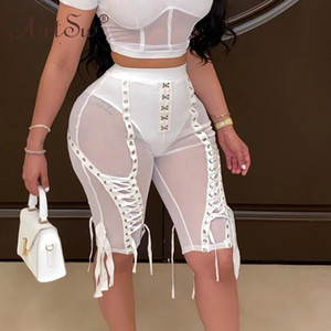 High Waist Mesh Short Pants Women Punk White Knee Length Pants Summer Club Lace Up Party Wear Bodycon Black Sexy Trousers
