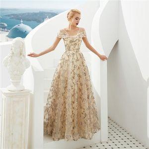 Fashion elegant Boat Neck Backless Off the Shoulder Homecoming Dresses 2020 new high-end lace gauze dress 31332