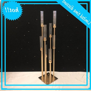 8&10 heads Candle Holders backdrops Road Lead props Table Centerpiece Gold Metal Stand Pillar Candlestick For Wedding Candelabra ZZA1366a