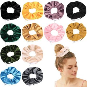 Hairband Velvet Scrunchies Large Intestine Elastic Hair Band Zipper Pocket Wallet Wristlet Coin Purse Key Holder DHF2529