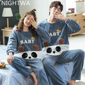 Nightwa зимние пары пары Pajamas набор милый животное Фланель для женщин Pijamas мужчины плюшевые пижамы костюм домашняя одежда спать 201031