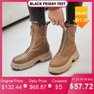Meotina Genuine Leather Platform Flat Ankle Women Shoes Round Toe Zipper Female Short Boots Autumn Winter Apricot Size 41 Q1201