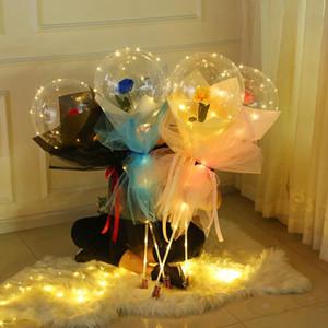 LED Luminous Rose Balloon Transparent Bobo Ball Bouquet Valentines Day Gift Birthday Party Wedding Decoration Globos