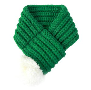 Pet Christmas Dog Knitted Scarf with White Pompom Cat Scarves for S M L Red Green Winter Pet Accessories Holiday Dog Ornaments LY12043