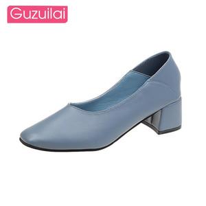 Guzuilai два износа модный мелководный рот толстые пятки высокие каблуки квадратный носок женские высокие каблуки весна и осень кожаные ботинки