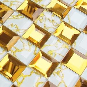 Splendid 5 factes ouro rosa diamante 3D Espelho Crystal Glass Mosaic Tiles, Showroom KTV Dispaly Wall Decor Tile Backsplash, YY199