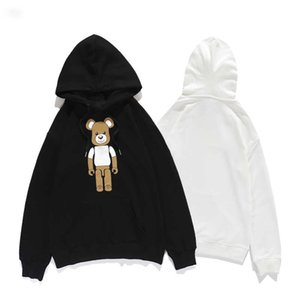 Winter new women's fashion cartoon building blocks bear long sleeve letter printing cotton hoodies 20ss edition white black Size 38-42