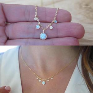 authentique 925 Sterling Sterling Argent Chocker CZ Opal Bijoux Or Chaîne Gold Femmes Élégantes Superbes Beauté Beautiful Blanc Pendentif Collier1