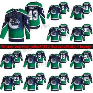 Vancouver Canucks 2020-21 Reverse Retro Jersey 43 Quinn Hughes 40 Elias Pettersson 53 Bo Horvat 88 Nate Schmidt 6 Brock Boeser Hockey Jersey