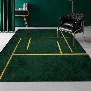 Luxury Golden Lines Dark Green Carpet For Living Room Floor Mat Beside Table Simple Decoration Home Hallway Mat Bath Doormat