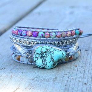 Newest Unique Mixed Natural Stones turquoises Charm 5 Strands Wrap Bracelets Handmade Boho Bracelet Women Leather Bracelet Q1201