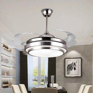 Modern Tavan Fanı LED Işık Ile Akrilik Bıçaklar Fan Lambası Yüksek Tavan Oturma Odası Ventilador De Teto Retratil 110 / 220V