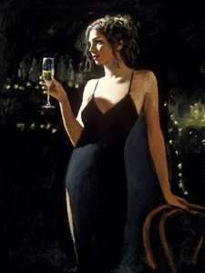 Tiffany with Champagne Home Decoration Handpainted &HD Print Oil Painting On Canvas Large Wall Art Canvas Pictures 210104