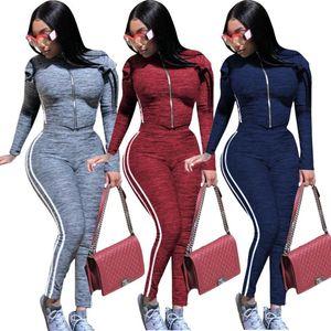Neue Frauen Langarm Hosenanzüge Mode-Kragen-Jacke Hose mit hoher Hüfte 2Pcs Seitenstreifen stehen Enge Sport Outfits