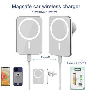 Chargeur de voiture sans fil Magsafe pour iPhone 12 Mini Pro Max 15W Charger sans fil magnétique Téléphones mobiles Ajustez la certification QI