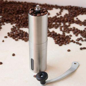 Silver Coffee Grinder Mini Acciaio inossidabile Manuale Manuale Fatto a mano Coffee Chicco Burr Smerigliatrici Mulino Strumento di Cucina Crocus Smerigliatrici Mare Shipping HHE3803