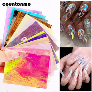 16sheets Holographic Nail Sticker 3D Hollow Fire Flame Nail Decals Stencil Self Adhesive Manicure Art Decoration Stickers