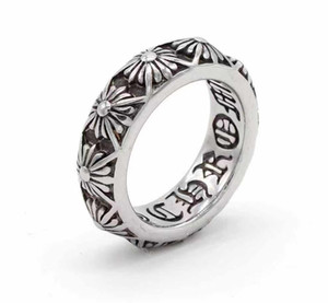 925 Standling Silver Style Chromehearts American Europe Anillos de dedo Anillos de Dedo Diseñador Hecho a mano cruces Anillo de banda de plata antigua para hombres