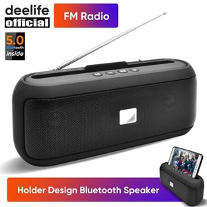Deelife Portable Bluetooth Speaker Wireless with FM Radio 10W Stereo Column for Mobile Phone Holder Support BT 5.0 TWS Speakers 201109