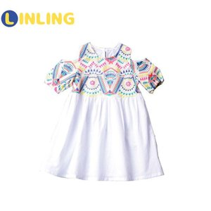 LINLING Fashion Cotton Girl Dress Short Sleeve Children Printing National Style Patterns Dress Dot Kids Dresses for Girls P314