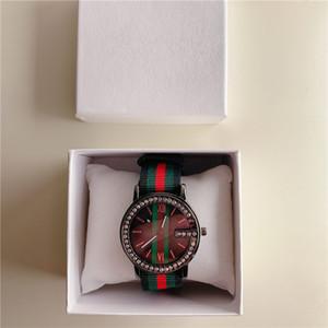 Hediye İzle Erkek Saat Lady relógios Giyinme Kristal Moda Yüz Yeni Erkek Kadın Renkli Naylon Spor Kuvars Saatler Ünlü Marka Casual