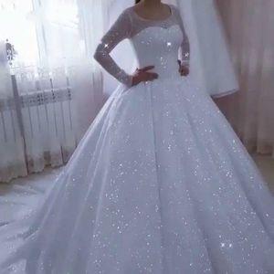 Vestido De Noiva Sparkle Wedding Dresses for Women 2020 Plus Size Ball Gown Long Sleeve Bridal Gowns Princess Robe De Mariee