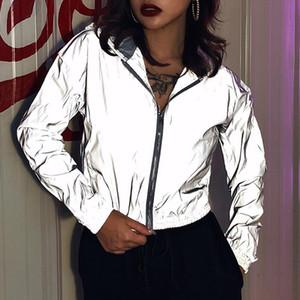 2020 Full Reflective Jackets Women Personality Windbreaker Jacket Coat Female Hooded Streetwear Hip hop Shinny Jacket Zipper