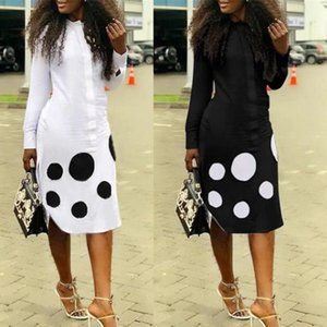 African Dresses For Women Dashiki Polka Dot African Clothes Plus Size Summer White Black Printed Retro Bodycon Africa Dress