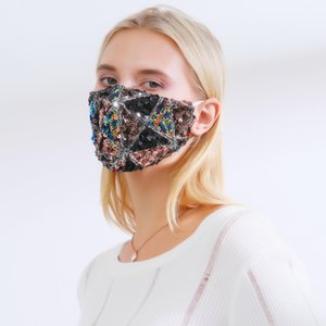 Multi Designs Face Mouth Mask with Valve PM2.5 Filter Sublimation Mask Rhinestone Adjustable Reusable Washable For Kids Sequin Face Mask