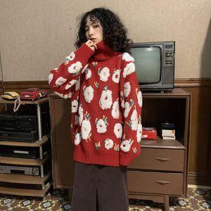 Anbenser patrón floral tejido suéter casual flojo flojo manga larga mujer jerseys nueva moda japonés estilo suéteres