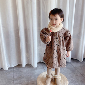 Baby Coat Winter 2020 Korean Cotton Jacket Polka Dot Fashion Baby Girl Outwear Puff Sleeve 1-7Years Warm Cotton Coat Outfit