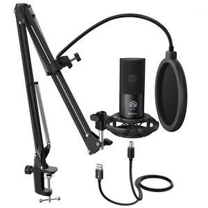 FiFine Studio Condensador USB Computer Microfone Kit com suporte de braço de tesoura ajustável para o YouTube Voice Overs-T6691