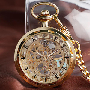 LinTimes Vintage Watch Necklace Hollow-out Pocket Watch Clock Pendant Hand-winding Fob Watch