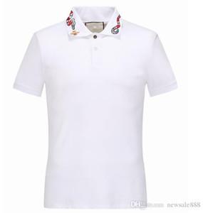 New Luxury Italy Men's T-Shirt Designer Polo Shirt High Street Embroidery Garter Snakes Little Bee Printing Clothing Men Brand Polo Shi