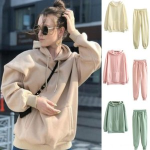 INSPK Women Sports Clothes Set Polyester Thick Warm Sweater With Pocket+pants Winter Autumn Pure Colors Casual Clothing Set New