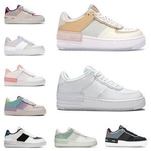 2021 force 1 af1 one shoes shadow Kadın erkek sneakers platform ayakkabı düşük üst gölge Soluk Fildişi Üçlü Mercan Pembe Fıstık Don Safir erkek tenis eğitmeni rahat ayakkabı