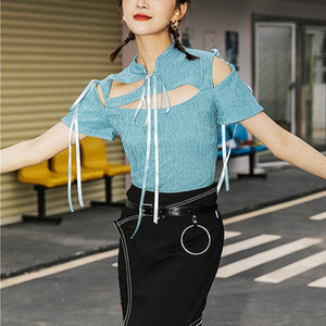 HARAJUKU Women Tops Sexy Lace Up Hollow Out Donne Donne Designer Designer New T Shirt manica corta Slim T Shirt SL086