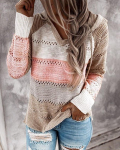 Sexy Knitted V Neck Sweater Hat Plus Size Patchwork Loose Sweater Women Long Sleeve Sweaters Pullover Knitt Winter Knitwear 3xl