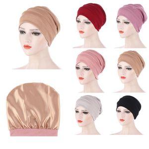 Beanie / Skull Caps 2021 Lino suave L Interior Hijab Muslim Turban Islámico Sujetador Bonete Sombrero Hombre Diadema Tubo Tubo Turbante Muyer Fashion1