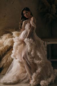 Vestido de noite elegante longo 2021 pescoço em v champanhe tulle vestidos de maternidade para foto shoot robe mulheres grávidas fomral vestidos