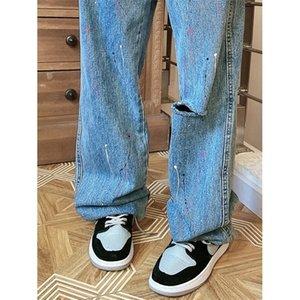 2020 Nuovo pittura a vita alta a vita alta pittura vecchio taglio dritto jeans street tendenza ruffian handsome papà J1207