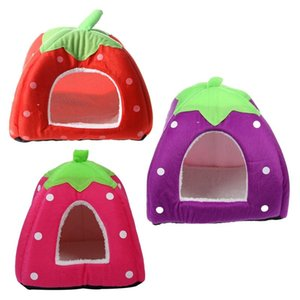 Soft Strawberry Pet Igloo Dog Cat Bed House Kennel Doggy Cushion Basket Red