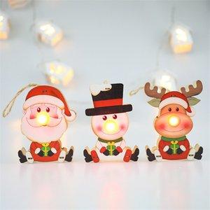 Led Light Tree Hanging Pendant Christmas Elk Wooden Ornament Decoration New Year Ornaments Shine Romantic 100pcs T1I2634