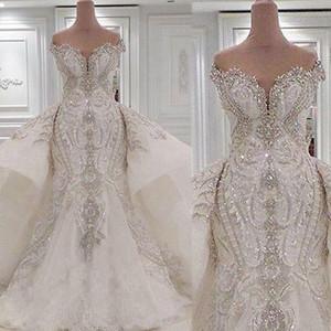 Vestidos de casamento sereia retrato com overskes rendas ruched sparkle rhinstone vestidos de nupcial dubai vestidos de novia feito sob encomenda