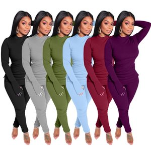 Women Tracksuits Two Pieces Set Casual Long Sleeve Split Leggings Outfits Solid Color Ladies New Fashion Loose T Shirt Jogging Clothing