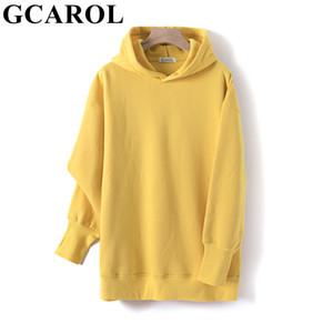 GCAROL Fall Winter Women Extra Long Hooded 80% Cotton Fleece Candy Jersey Drop Shoulder Oversized Boyfriend Style Sweatshirt Y1116